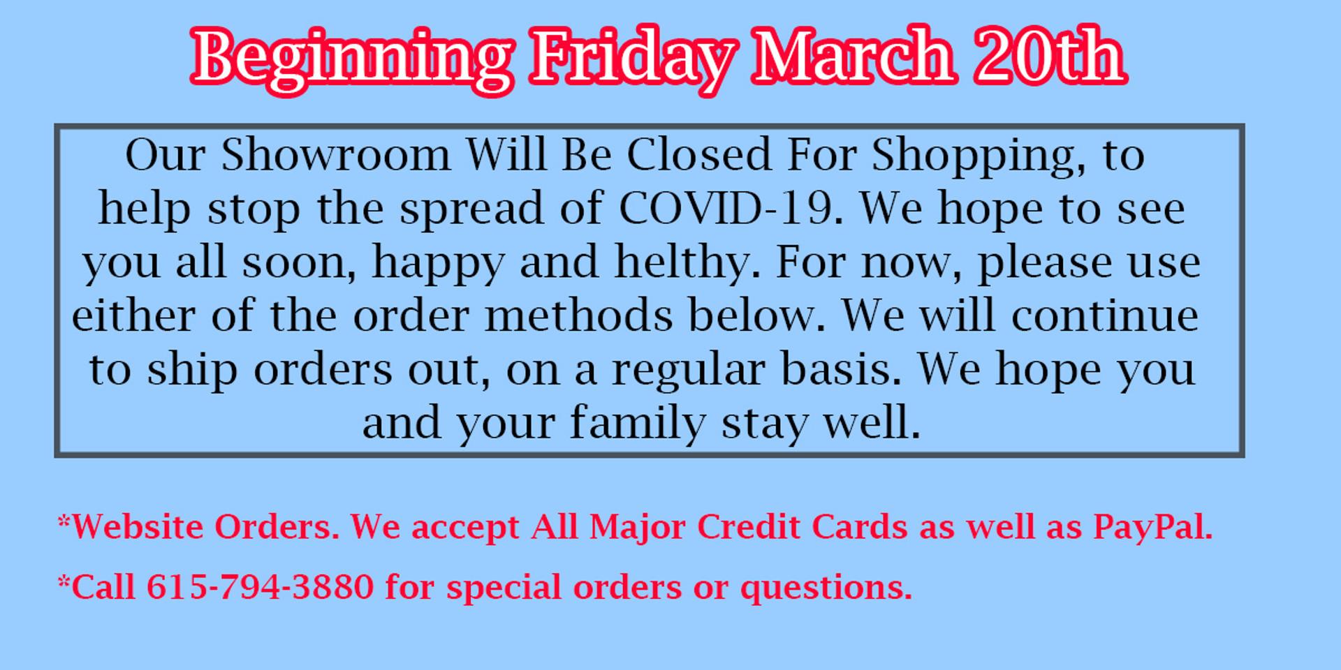 COVID-19 Showroom Closing