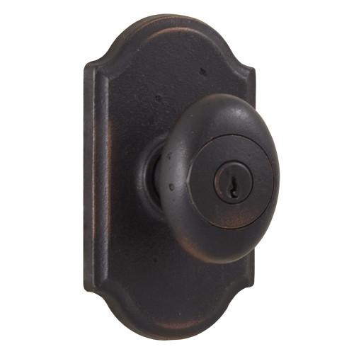 Molten Bronze Durham Reversible Keyed Entry Door Knob with Premiere Rosette - Oil Rubbed Bronze
