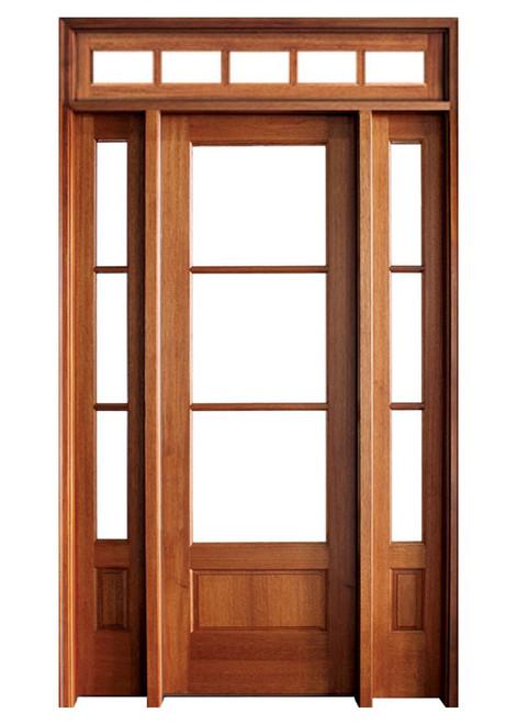 Mahogany Alexandria TDL 3LT 8/0 Single Door with 2 Sidelights and Rectangular Transom