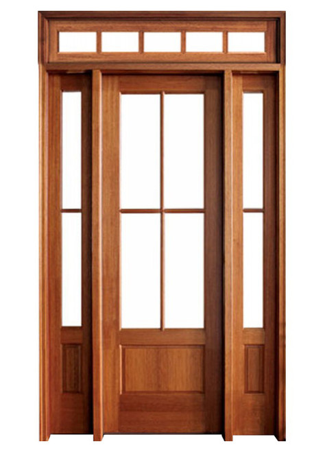 Mahogany Alexandria TDL 4LT 6/8 Single Door with 2 Sidelights and Rectangular Transom