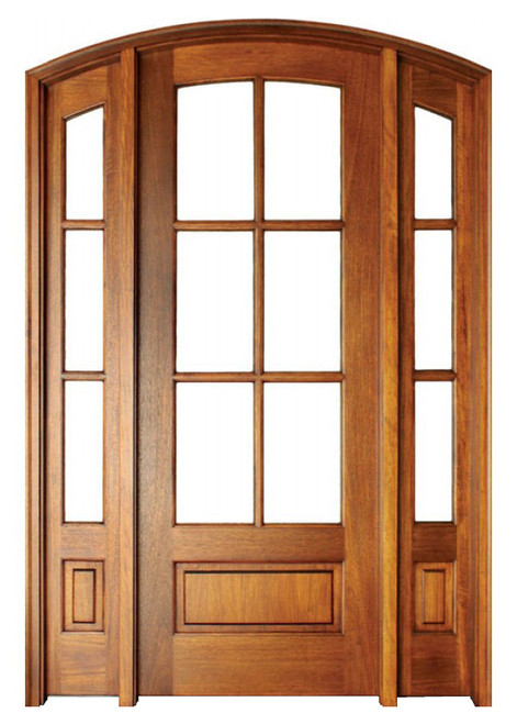 Mahogany Alexandria TDL 6LT 8/0 Arch Top Single Door with 2 Sidelights