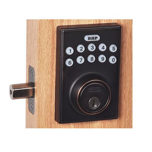 Better Home Products Electronic Keypad Deadbolt. Square Design.  Dark Bronze Finish.  EL20611DB.  Best Price #1 BHP On-line distributor Complete Home Hardware.com