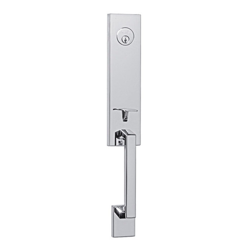 Fisherman's Wharf Polished Chrome Modern and Contemporary Design.  Front Door Entry Handleset by Better Home Products.  Complete Home Hardware preferred BHP Dealer.