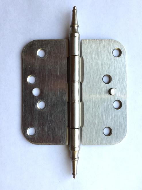 """Satin Nickel 4"""" X 4"""" X 5/8"""" Corner Door Hinge with Steeple Tip"""