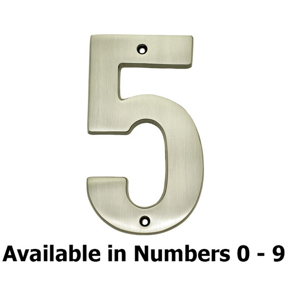 """Sold Brass 5"""" Satin Nickel House Number"""