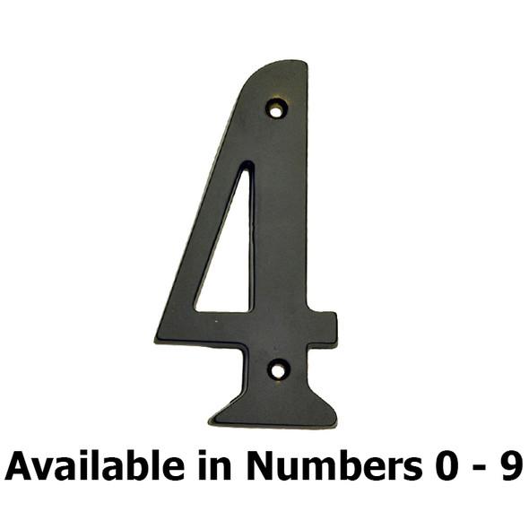 """Solid Brass 4"""" Matte Black House Number"""