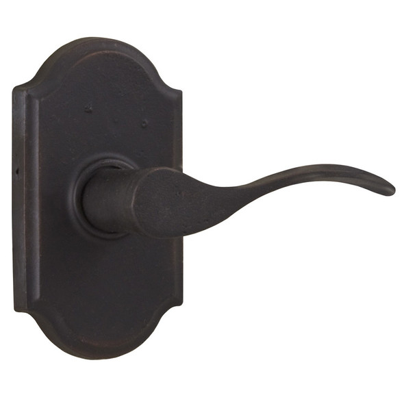 Molten Bronze Carlow Right Hand Privacy Door Lever with Premiere Rosette - Oil Rubbed Bronze