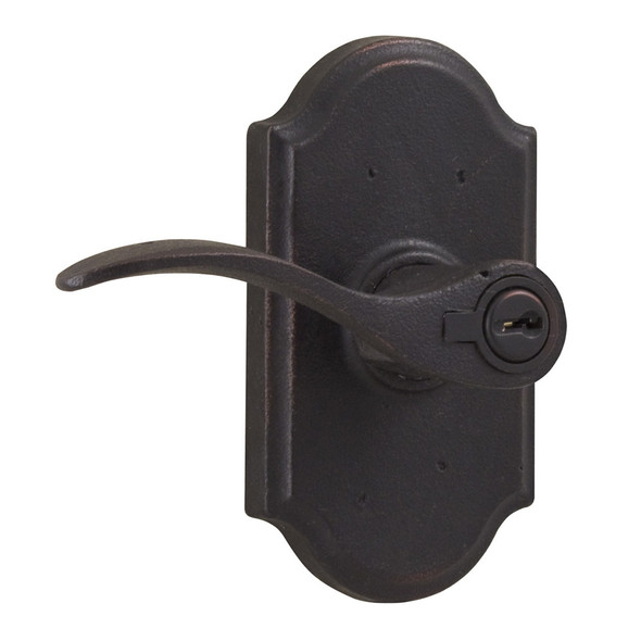 Molten Bronze Carlow Left Hand Keyed Entry Door Lever with Premiere Rosette - Oil Rubbed Bronze