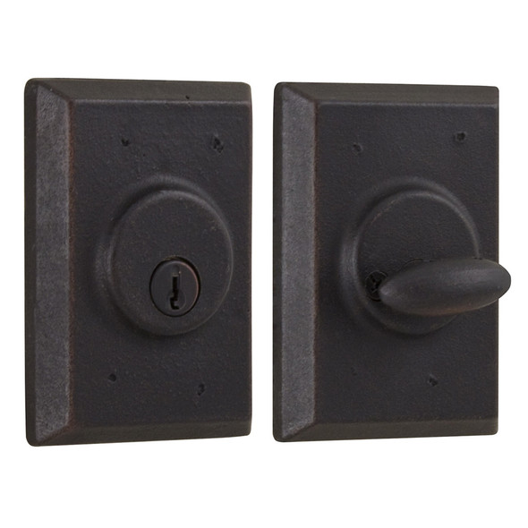 Molten Bronze Single Cylinder Deadbolt with Square Rosette - Oil Rubbed Bronze