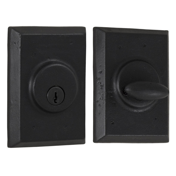 Molten Bronze Single Cylinder Deadbolt with Square Rosette - Black