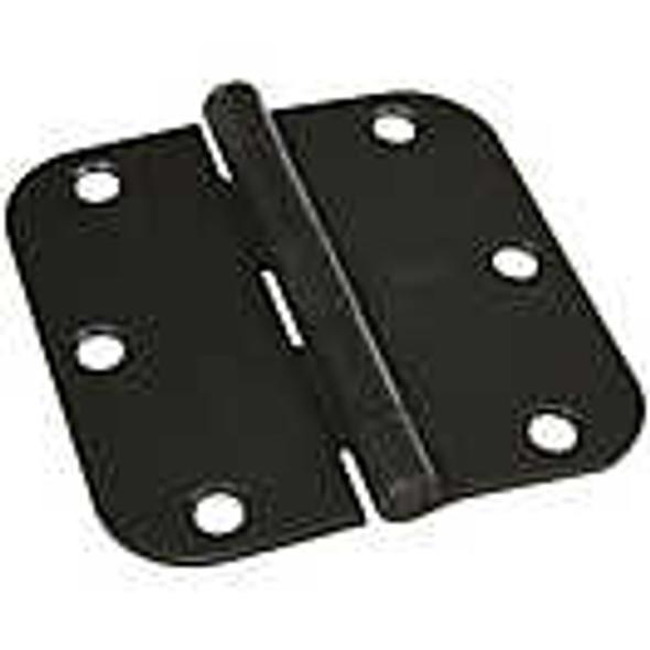 "Brushed Matte Black 3.5 inch X 3.5 inch X 5/8"" radius corner interior residential door hinge"