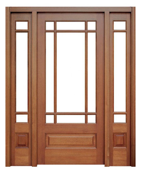Mahogany Madison Single Door with 2 Sidelights