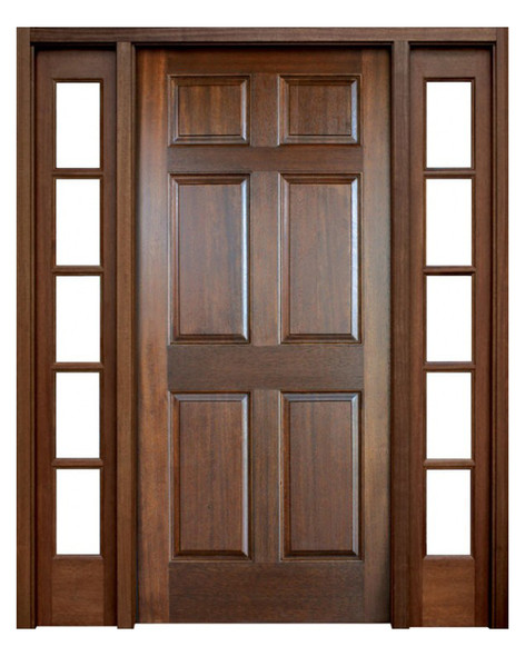 Mahogany Colonial Six Panel Single Door with 2 Sidelights