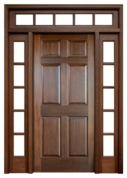 Mahogany Colonial Six Panel Single Door with 2 Sidelights and Transom