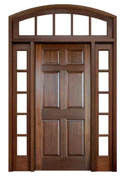Mahogany Colonial Six Panel Single Door with 2 Sidelights and Segment Arch Transom