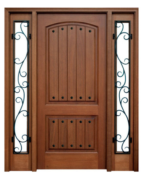 Mahogany Decatur Hendersonville Single Door, 2 Sidelights with Clavos