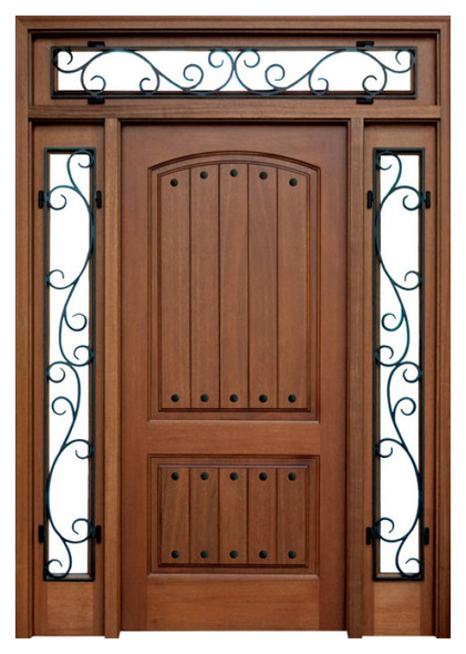 Mahogany Decatur Hendersonville Single Door, 2 Sidelights, Transom with Clavos