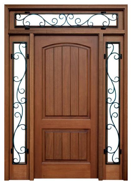 Mahogany Decatur Hendersonville Single Door, 2 Sidelights, with Transom