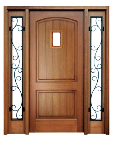 Mahogany Decatur Hendersonville Single Door, 2 Sidelights with Speakeasy