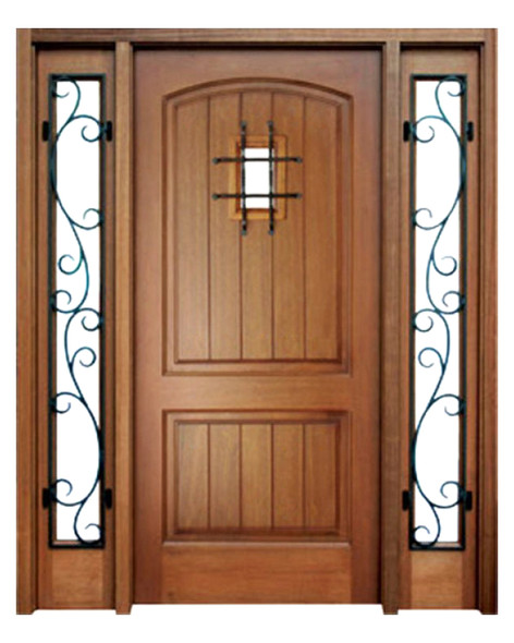 Mahogany Decatur Hendersonville Single Door, 2 Sidelights with Speakeasy and Grille
