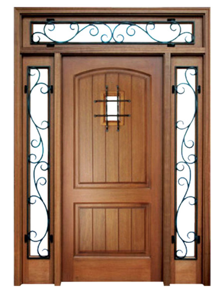 Mahogany Decatur Hendersonville Single Door, 2 Sidelights, Transom with Speakeasy and Grille