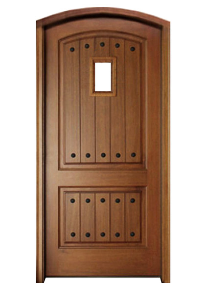 Mahogany Decatur Hendersonville Single Arch Top Door with Speakeasy and Clavos