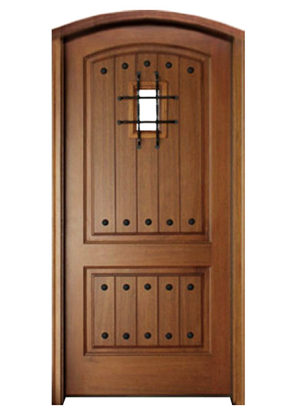 Mahogany Decatur Hendersonville Single Arch Top Door, Speakeasy with Grille and Clavos