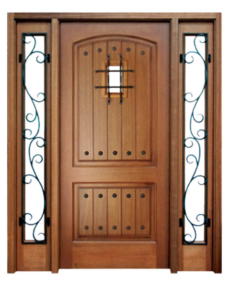 Mahogany Decatur Hendersonville Single Door, 2 Sidelights, Speakeasy with Grille and Clavos