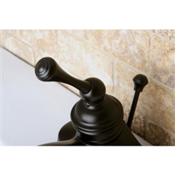 "VINTAGE 4"" CENTER SET bathroom Faucet with BL handle & ABS/Brass POP-UP, Oil Rubbed Bronze Deatil"