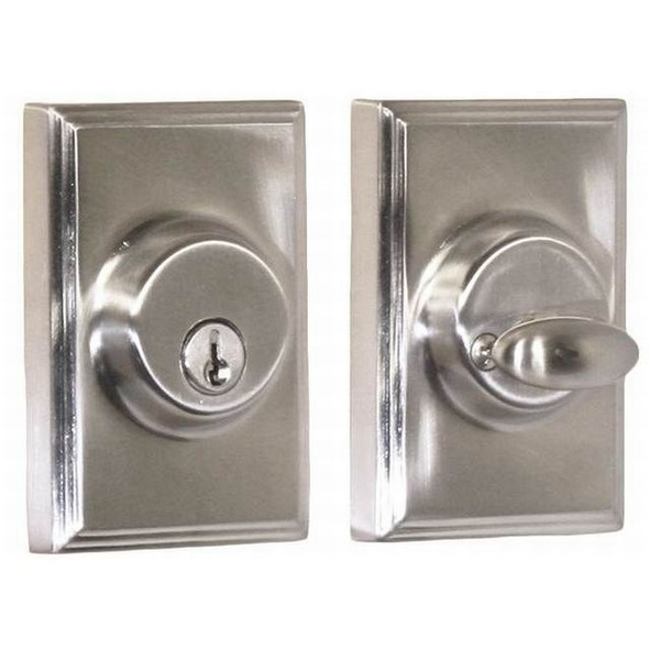 Satin Nickel Woodward Single Cylinder Rectangular Deadbolt ( 3771-N-NSL22) Weslock and preferred vendor Complete Home Hardware Franklin, TN 615-794-3880