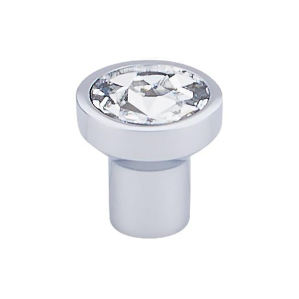 """Barrington Wentworth Crystal Round Knob 1 1/8"""" - Polished Chrome Base"""