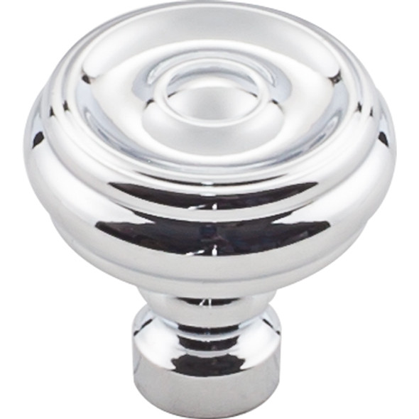 Brixton Button Knob 1 1/4 Inch - Polished Chrome Interior Modern Shed Kitchen Bathroom Door Metal Knob Lock Hardware