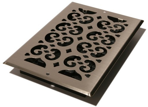 "Wall and Ceiling Mount 6"" inch X12"" inch Decorative HVAC Register with included damper box by Decor Grates and sold by Complete Home Hardaware.com (SP612W-NKL)"