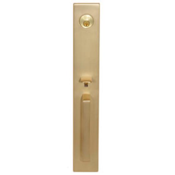 Delores Park Satin Brass Frontdoor Handleset