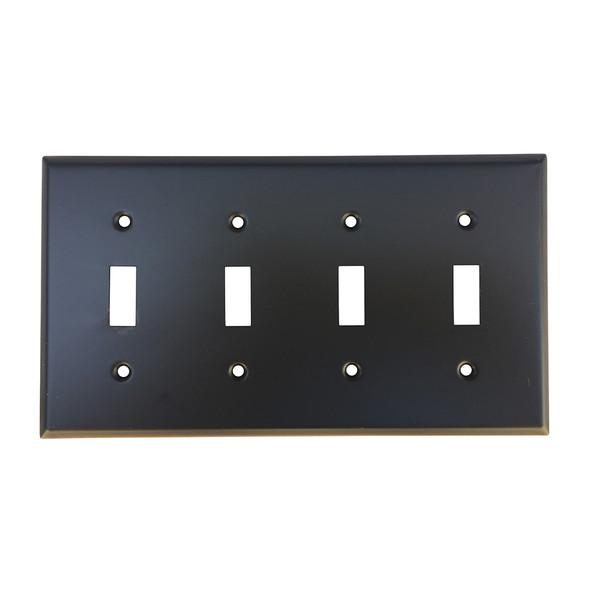 Oil Rubbed Bronze Quad Toggle Switch Plate Cover