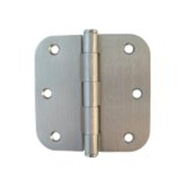 Satin Nickel 3.5 inch X 3.5 inch X 5/8 inch Radius Corner Residential Interior Door Hinge