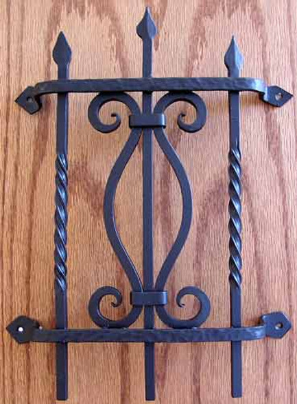 Square Bar Fancy Grille- Flat black by Agave Ironworks