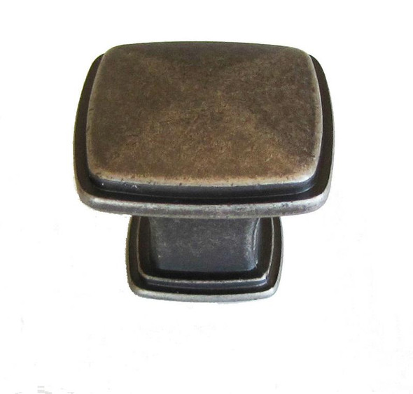 "Weathered Nickel 1 1/4"" Square Cabinet Knob"
