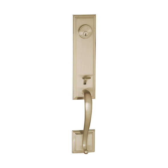 Satin Nickel Union Square Front Door Handleset by Better Home Products. Discount Prices on hardware at www.completehomehardware.com