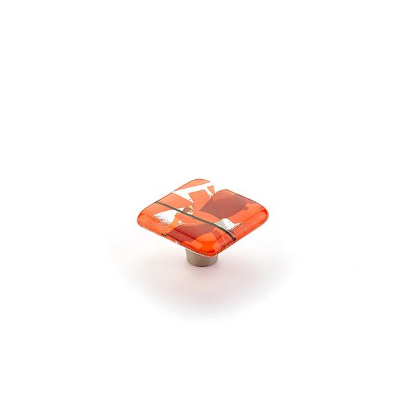 Schaub and Company Ice Collection Confetti Orange Square Cabinet Knob