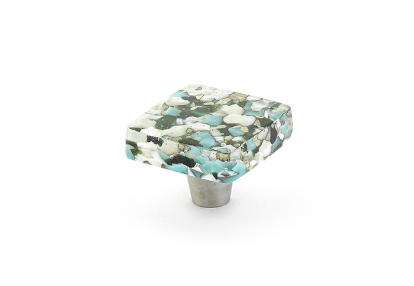 Schuab and Company Ice Collection Green/Blue Pebbles Square Cabinet Knob