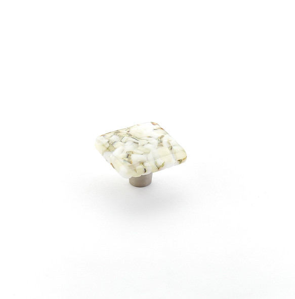 "Ice Square, White Lace Pebbles, 1-1/2"" dia Knob"