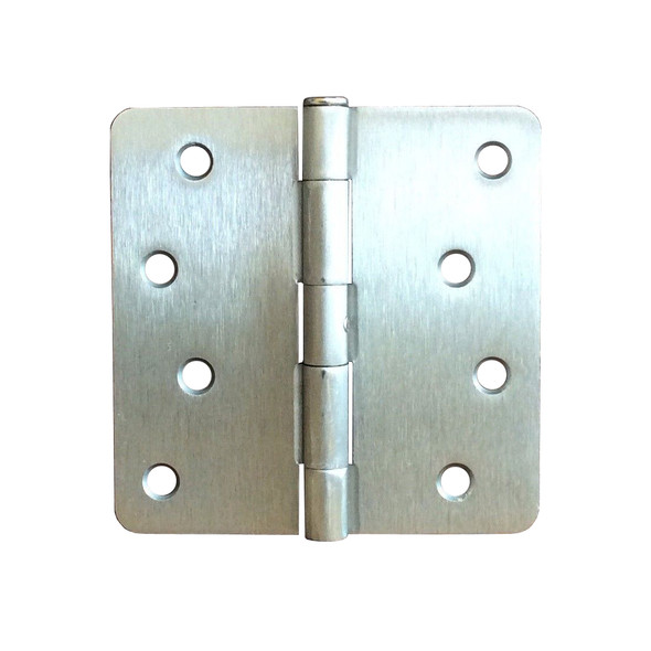 "Satin Nickel 4"" X 4"" X 1/4"" Corner Residential Exterior Door Hinge"