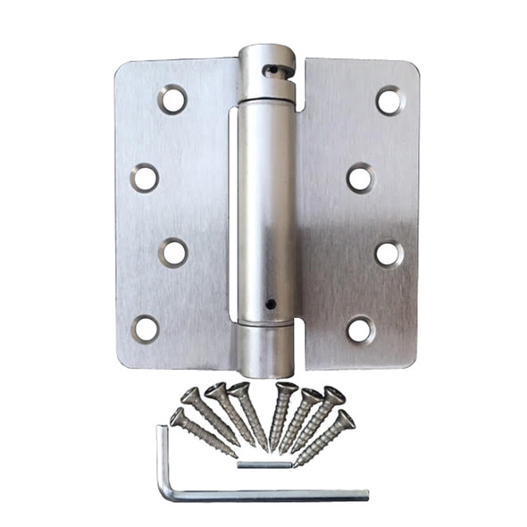 "Satin Nickel 4"" X 4"" X 1/4"" Corner Self-Closing Adjustable Spring Hinge"