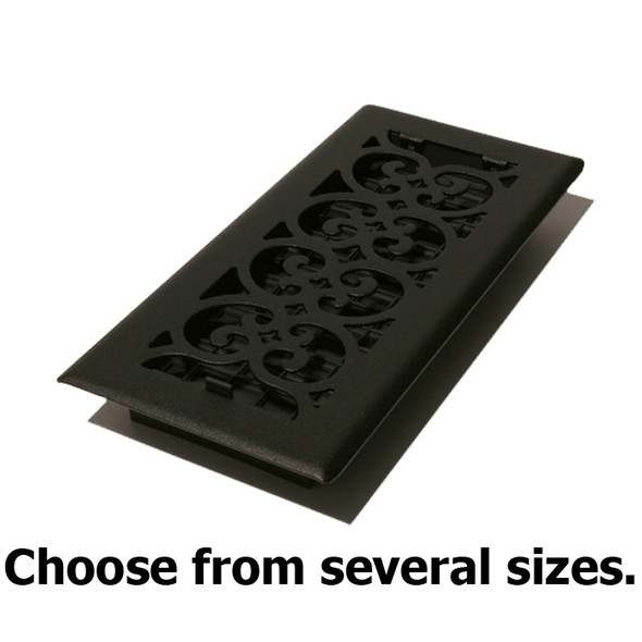 Black Painted-Textured Cast Iron Look Steel Floor Register