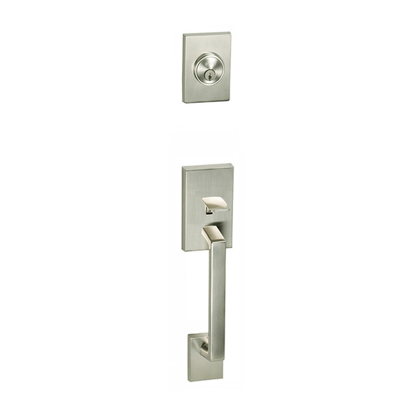 Satin Nickel Tiburon Front Door Entry Handleset by Better Home Products, sold by Complete Home Hardware.