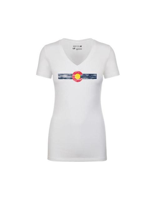 Republic of Colorado Ladies Single Stripe - White V-Neck Tee Shirt