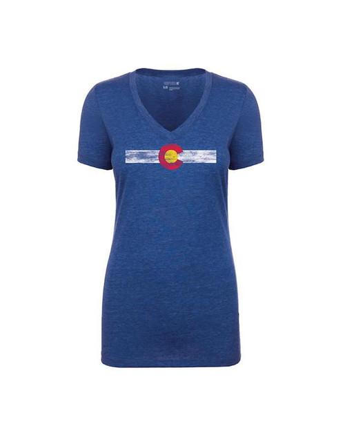 Republic of Colorado Ladies Single Stripe V Neck Tee Shirt - Royal
