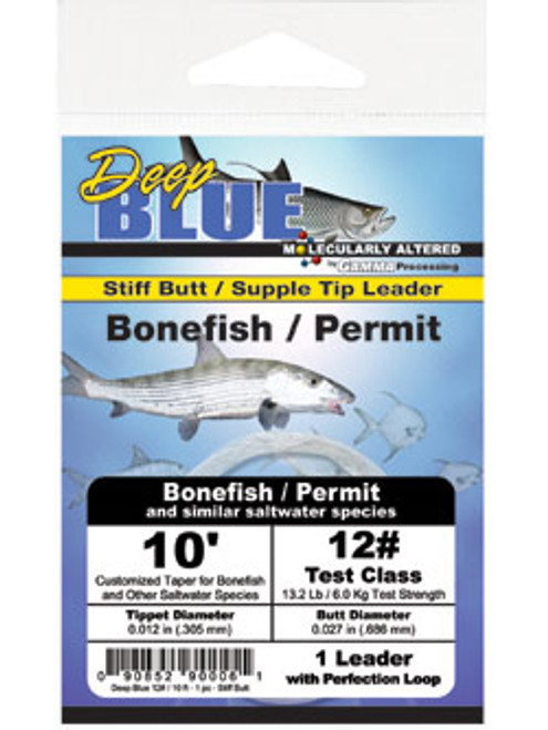 Frog Hair Deep Blue Tapered Leader Bonefish / Permit 10' (1/pk)