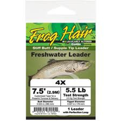 Frog Hair 7.5ft Stiff Butt Supple Tip Tapered Leader - Fly Fishing